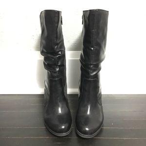 a.n.a Sz8 Black Mid Calf Biker Chic Heeled Boots